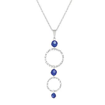 Eternal Collection Infinito Silver Hoop And Majestic Blue Crystal Pendant