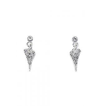 Miss Dee Silver Plated Small Crystal Heart Drop Earrings