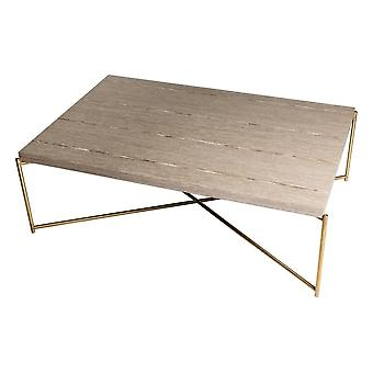 Gillmore Weathered Oak Rectangular Coffee Table With Brass Cross Base