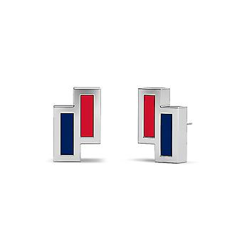 University Of Mississippi Sterling Silver Asymmetric Enamel Stud Earrings In Red and Blue
