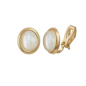 Mère de menuet éternel Collection de perles couleur or Stud Clip boucles d'oreilles