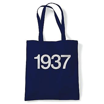 1937 Classic Car Tote | Car Pickup Bike Truck Rally Sports SUV Off-road | Reusable Shopping Cotton Canvas Long Handled Natural Shopper Eco-Friendly Fashion