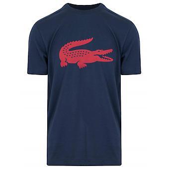 Lacoste Navy trykt logo Crew Neck T-skjorte