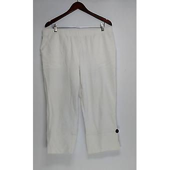 Denim & co. kvinner ' s bukser beskjære med side ventil hvit A290109