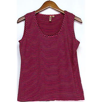 209 WST Pull-Over Sleeveless Cami Top Dark Pink Striped Womens