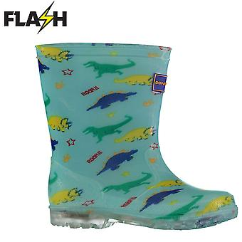 Donnay Kids Lt Up In94 Wellies Wellington Printed Rain Winter Boots