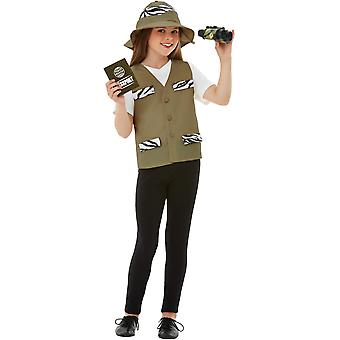 Aventureira Explorer acessórios Brown Kids costume com colete chapéu binóculos Pass e emblema unisex carnaval Globetrotter