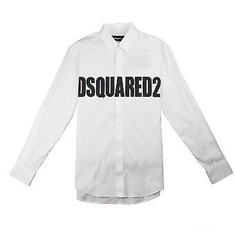 Dsquared2 logo skjorte hvit