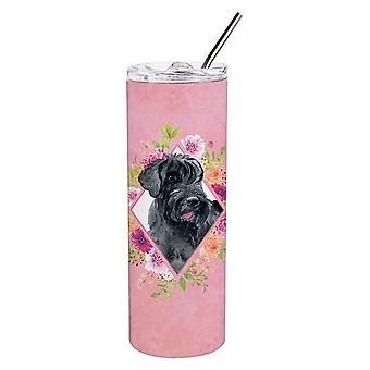 Giant Schnauzer Pink Flowers Double Walled Stainless Steel 20 oz Skinny Tumbler