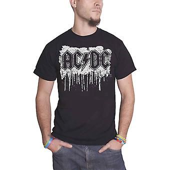 AC/DC T Shirt Dripping With Excitement Band Logo Official Mens New Black