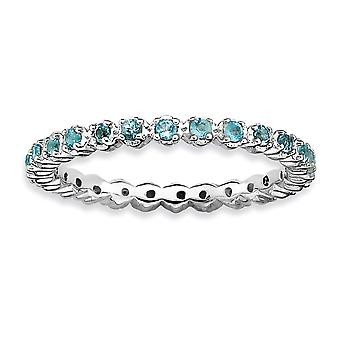 925 Sterling Silver Polished Prong set Patterned Rhodium plated Stackable Expressions Blue Topaz Ring Jewely Gifts for
