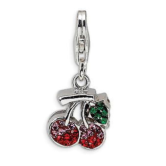 925 Sterling Silver Rhodium plated Fancy Lobster Closure Polished Crystal Cherries With Lobster Clasp Charm Pendant Neck