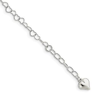 925 Sterling Silver Fancy Lobster Closure Polished Puffed Love Heart With 1inch Ext. Anklet. Anklet 9 Inch Jewely Gifts for Wom