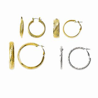 Kennedy Gold Flashed and Rhodium plated 4 Pair Set Of Hoop Earrings Jewelry Gifts for Women