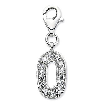 925 Sterling Silver Rhodium plated Fancy Lobster Closure CZ Cubic Zirconia Simulated Diamond Numeral 0 With Lobster Clas