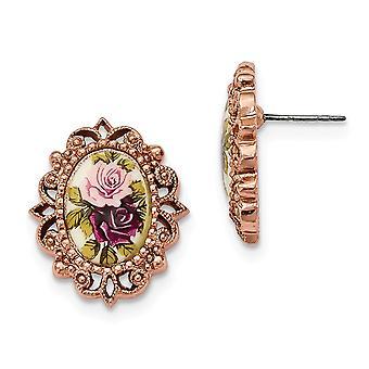 Kirurgiskt stål post Rose ton Blommig Decal Oval Post Örhängen Smycken Gåvor för kvinnor