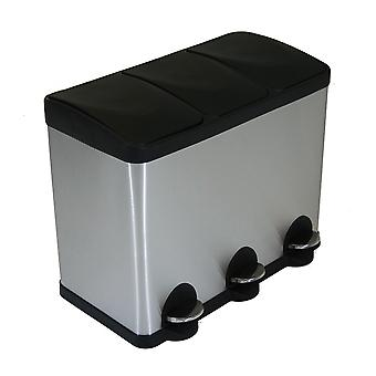 Charles Bentley 45L Stainless Steel Kitchen Recycle  Pedal Bin 3 Compartment