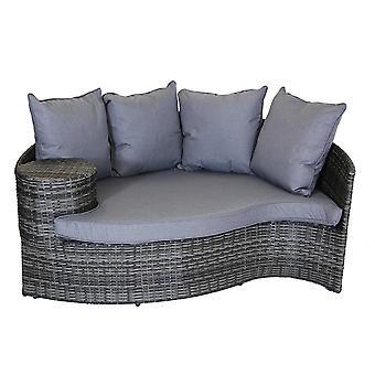 Charles Bentley rattan Day Bed con poggiapiedi e tavolino-grigio