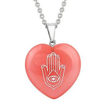 Amulet Hamsa magiske krefter energi Cherry simulert kvarts Puffy hjerte anheng halskjede