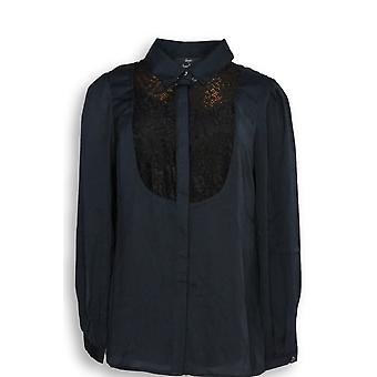 Dennis Basso Mujeres's Top Button Front Lace Detail Blusa Negro A268817