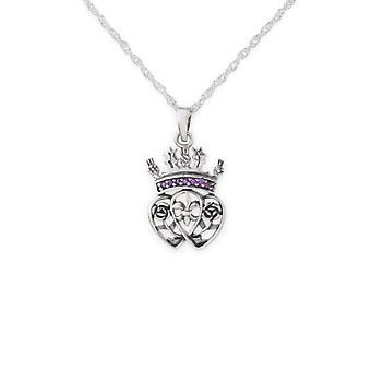 Scotland Royalty Mary Stuart Queen Of Scots Round Shape Necklace Pendant - Amethyst Colour Stones - Includes A 18