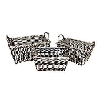 Satz von drei Wicker antik Waschen Finish behandelt ungefüttert Aufbewahrungskorb