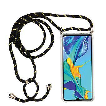 Telefonní řetězec pro Huawei P30 pro-smartphone náhrdelník Case s pásem karet-kabel s Pouzdrou pro zavěšení na černou