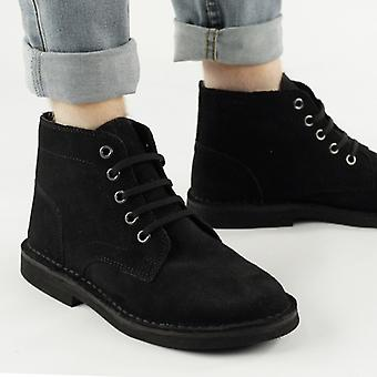 Roamers Mens 5 Eyelet Suede Leather Desert Boots Black