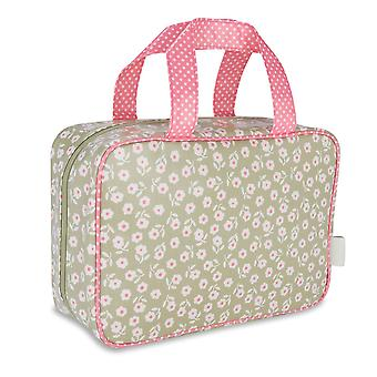'victoria green' hanging traveller wash bag - daisy sage