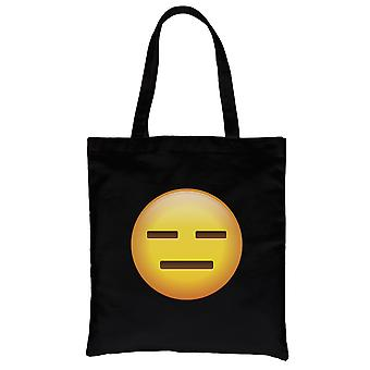 Emoji-Emotionless zwart canvas schoudertas krachtige Fun Halloween