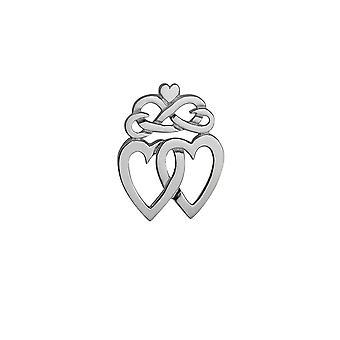 Sølv 36x25mm Luckenbooth dobbelt hjerte og krone broche