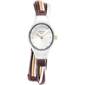 Opex OPW021 Watch - FILANTE Silver Leather Bracelet Bo tier Steel Dor Pink Women