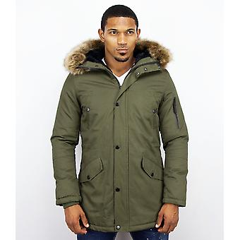 Long Parka Coat - With Fur Collar - Green