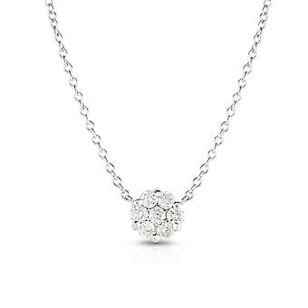 14k Gold White Finish Necklace With Lobster Clasp With 0.25ct White Diamond 18 Inch Jewelry Gifts for Women