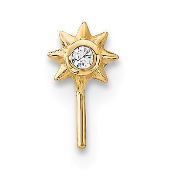 4,2 mm 14k CZ Zirkonia simuliert Diamant Sonne Nase Ohrstecker Schmuck Geschenke für Frauen