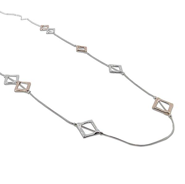 Square Detailed Long Necklace - Silver
