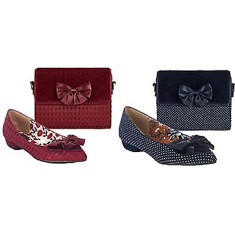 Ruby Shoo Women's Cora Pointed Feature Bow Flat Shoes & Matching Mandalay Bag