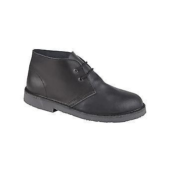 Roamers Black Distressed Leather 2 Eyelet Desert Boot Unlined. Padded Heel Sock Tpr Sole