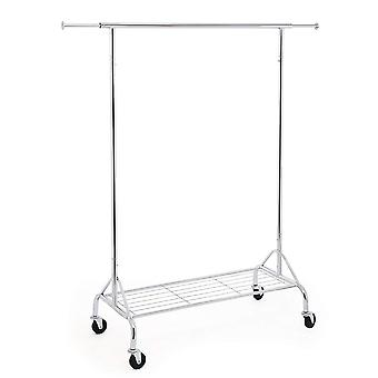 Metal clothing rack with extendable rod, grille and wheels - chrome