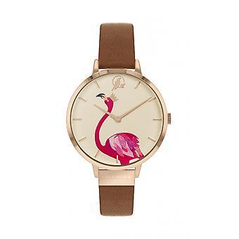 Sara Miller SA2078 Women's Gold Tone Flamingo Brown Strap Wristwatch