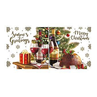 Eurowrap Christmas Acetate Cards With Xmas Food Designs (Box With 24 Packs Of 12 Greetings Cards)