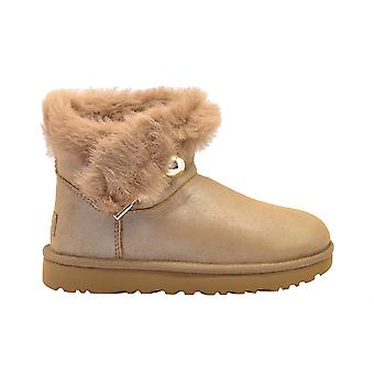 Ugg Classicfluffpinpe Women's Beige Leather Ankle Boots