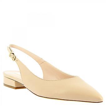 Leonardo Shoes Women's handgemaakte puntige slingback ballet flats beige kalf s leer