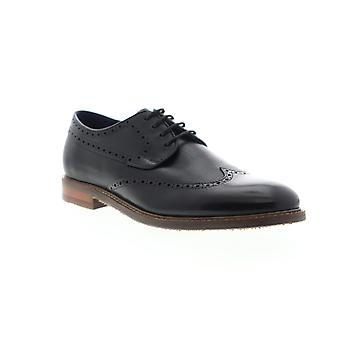 Zanzara Andy  Mens Black Leather Casual Lace Up Oxfords Shoes