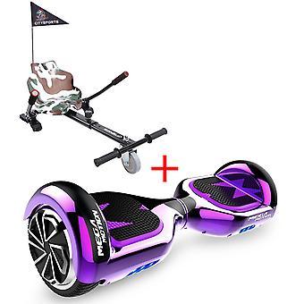 MM6 Hoverboard Self Balanced Electric Scooter LED med kart-krom lilla
