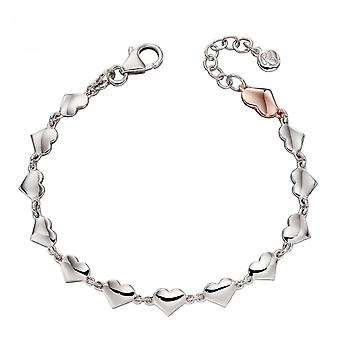 Little Star Eos Silver & Rose Gold Multi Heart Childrens Bracelet