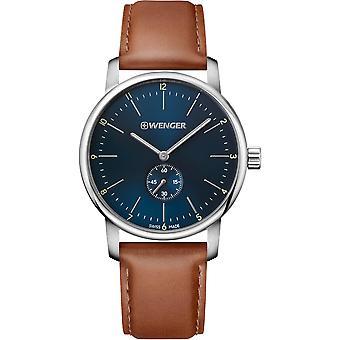 Wenger Urban Classic Quartz Blue Dial Brown Leather Strap Men's Watch 01.1741.103