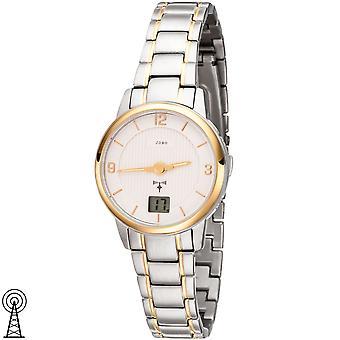 JOBO slečny Náramkové hodinky rádio Rádio hodinky nerezová ocel bicolor Gold pokovené dámy sledovat datum