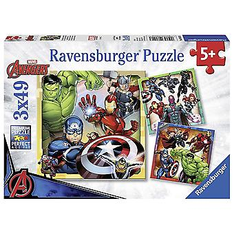 Ravensburger Marvel Avengers Assemble Jigsaw Puzzles - 3 x 49 Pieces