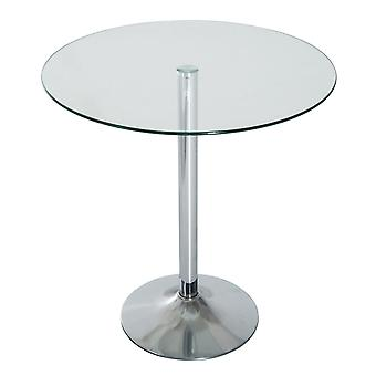 HOMCOM 70CM Round Glass Top Table End Coffee Bistro Bar Table Dining Home Living Room End Table Chrome Finish